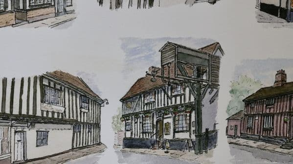 Timber Framed Houses Woodbridge Suffolk Print of an Original Pen and Watercolour By David. S Cook